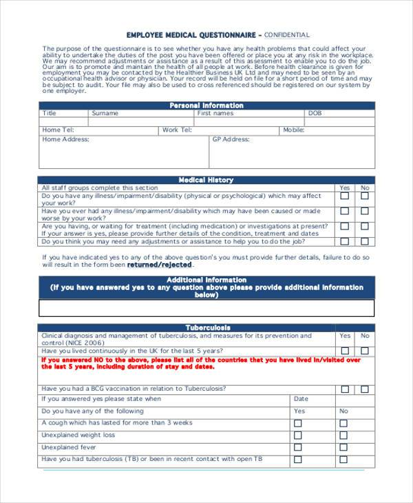 employment medical questionnaire form1