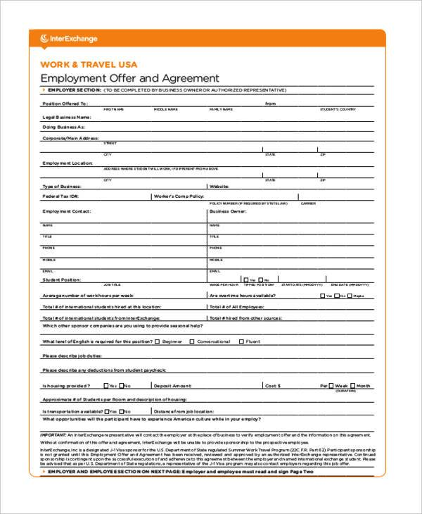 employment offer agreement form example