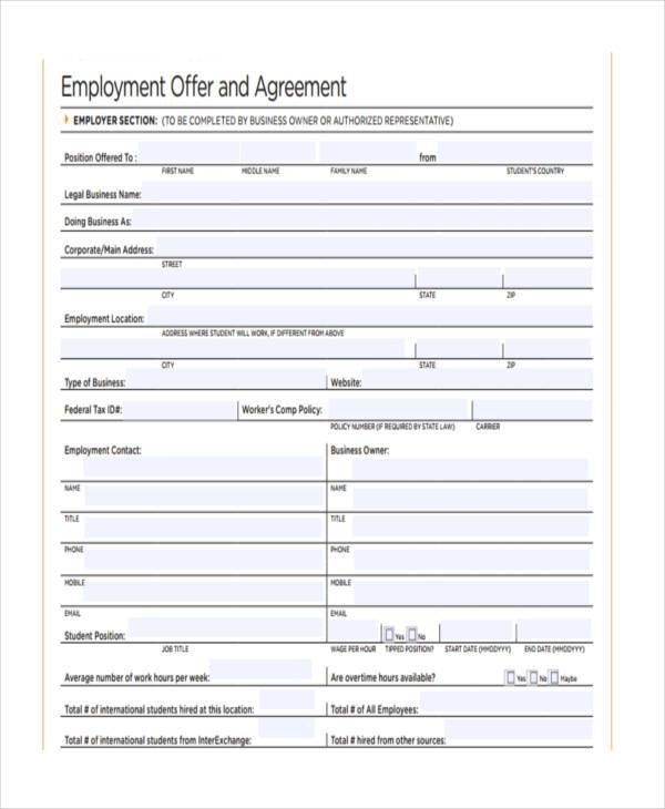 employment offer agreement form
