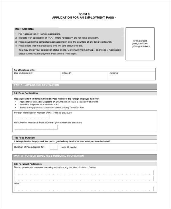 employment pass application form