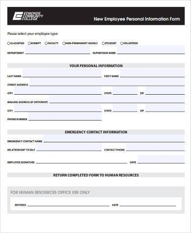 employment personal information form