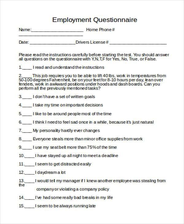 employment questionnaire form in doc