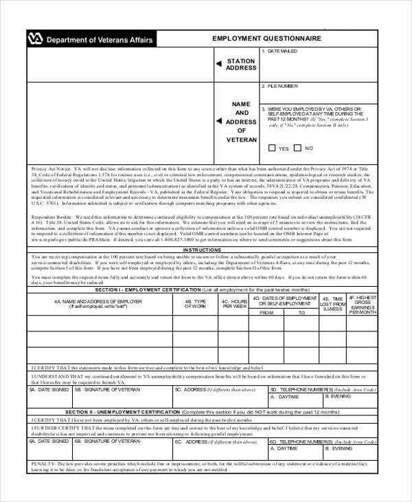 employment questionnaire form in pdf1