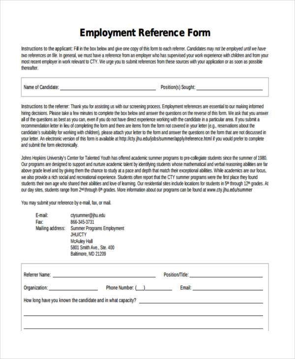 employment reference form in pdf