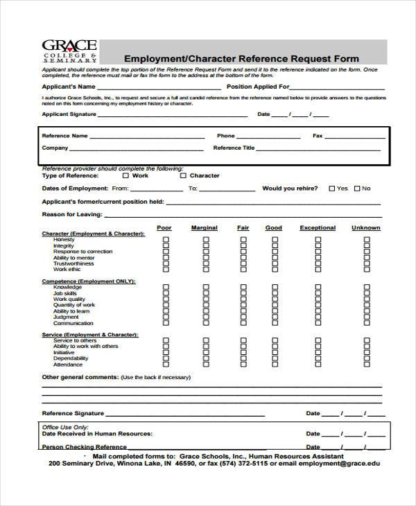 Employment form templates for Employment reference check form template
