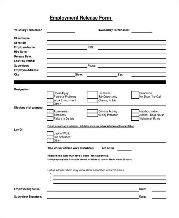 Sample Employment Release Forms   Free Documents In Pdf