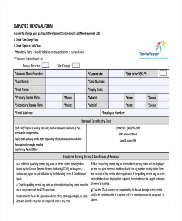 employment renewal form in pdf