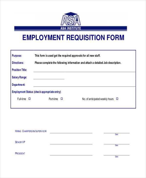 employment requisition form format