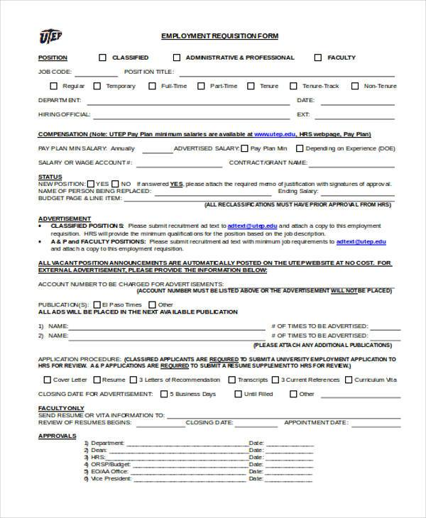 employment requisition form in word