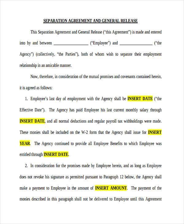 employment separation agreement form2