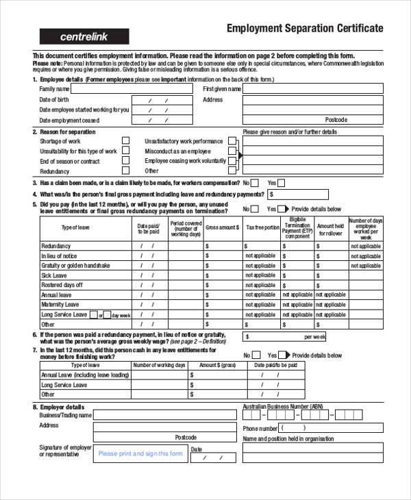 Sample employment separation forms 8 free documents in pdf employment separation certificate form yelopaper Choice Image
