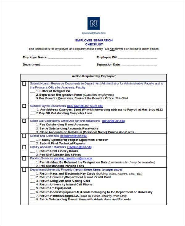 employment separation checklist form