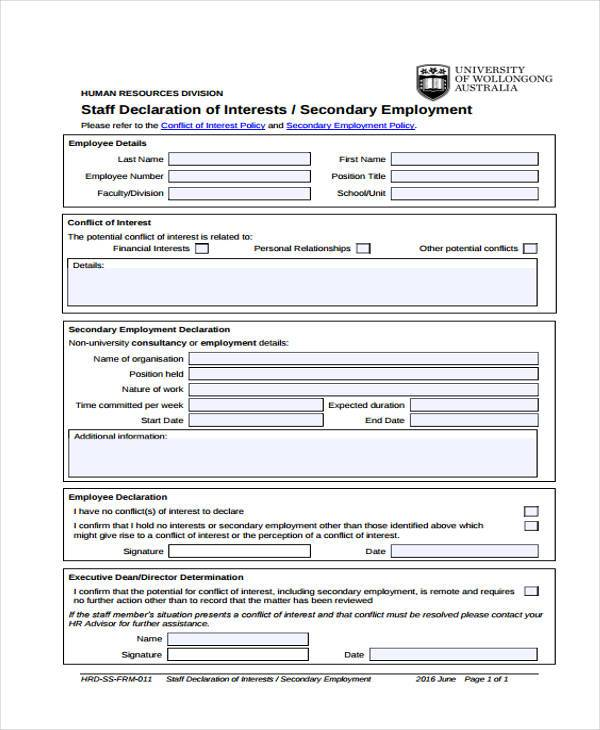 Employment form templates employment staff declaration form altavistaventures Gallery
