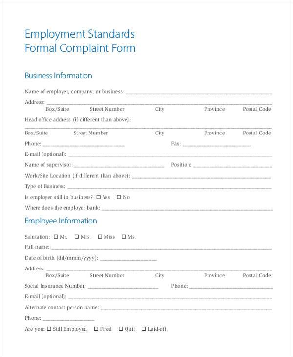free 8  formal complaint form samples in sample  example  format