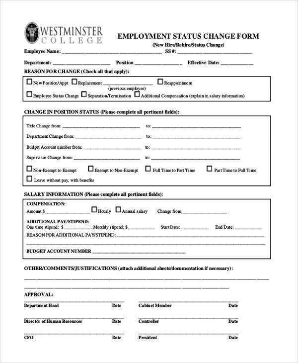 employment status change form