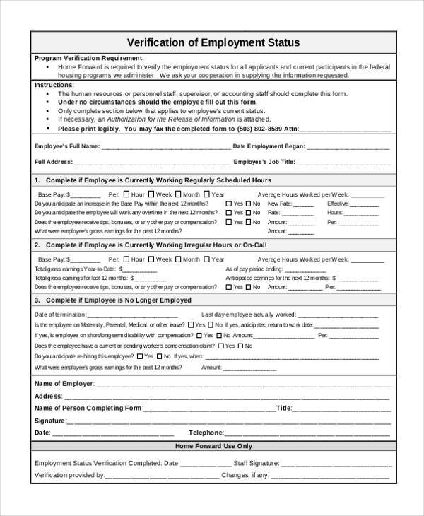 employment status verification form