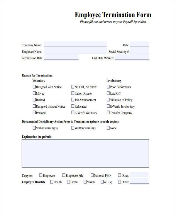 Free Employment Form Samples   Free Documents In Word Pdf