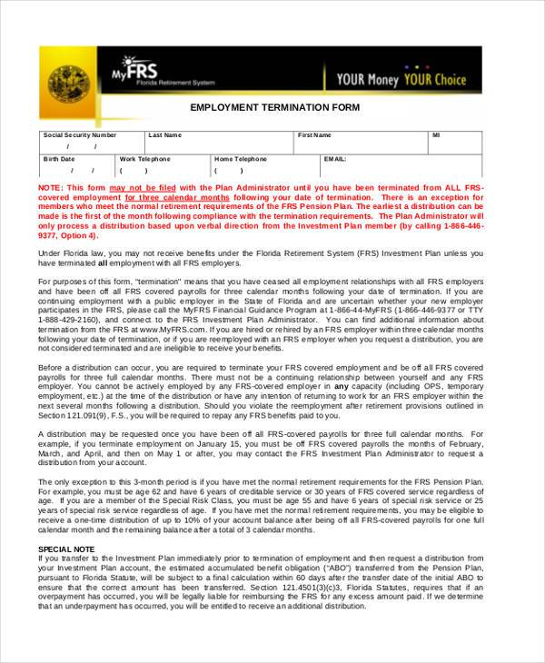 employment termination form