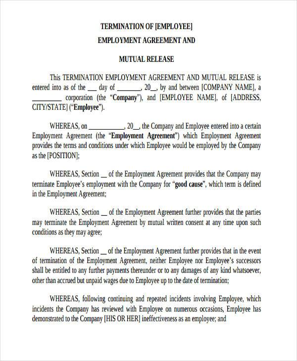 Employment Release Agreement Employment Termination