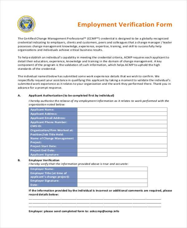 8 Employment Verification Sample Forms Free Example