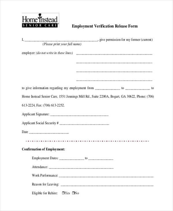 8+ Employment Verification Sample Forms - Free Example, Sample ...
