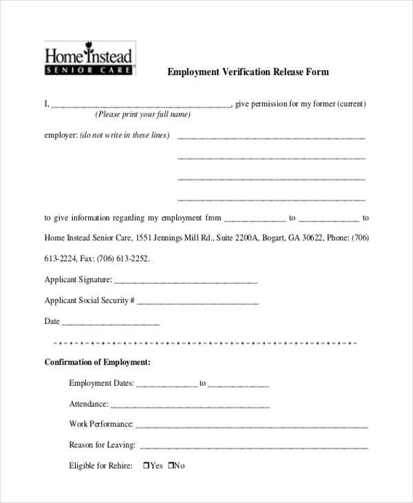 Employment Verification Release Form1  Employment Verification Forms Template