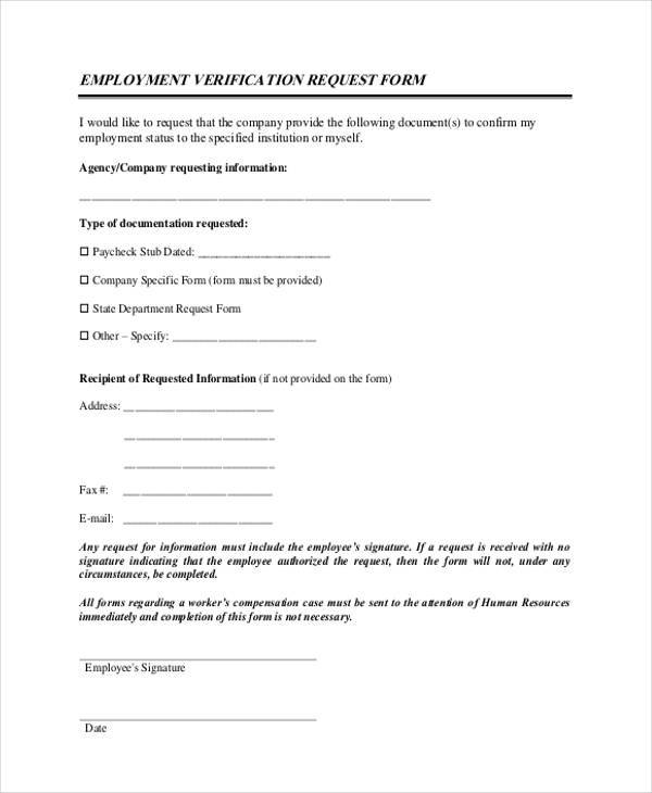 employment verification request form example