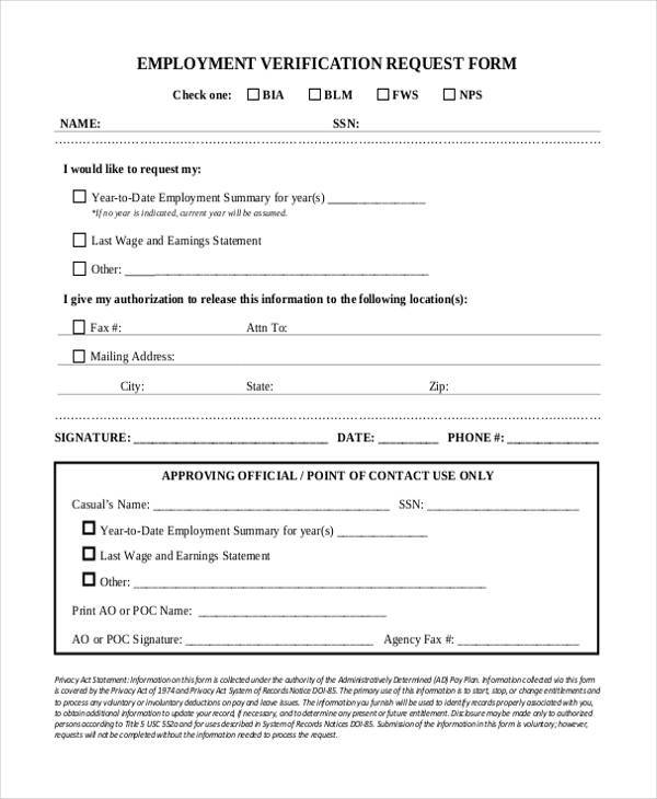 Employment Verification Request Form