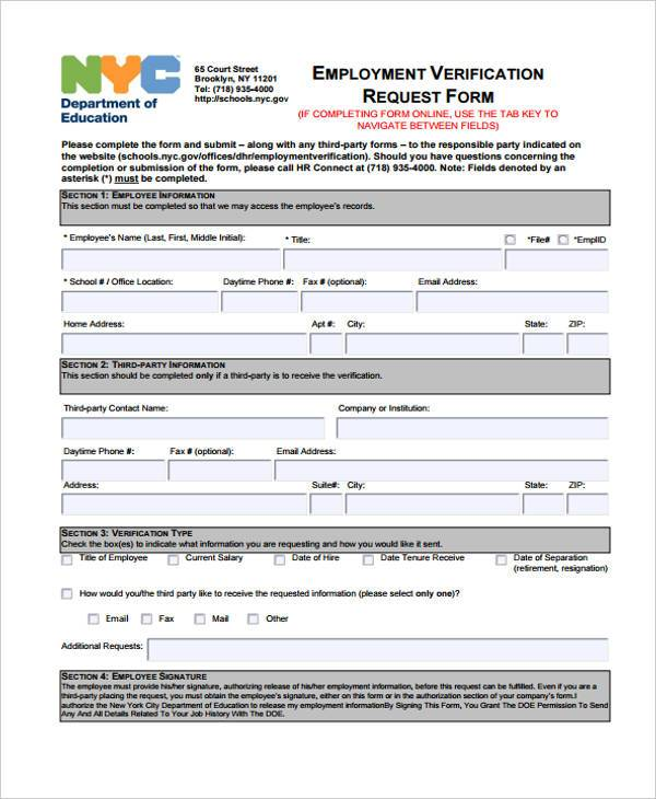 Employment Form Templates – Employment Verification Request Form Template