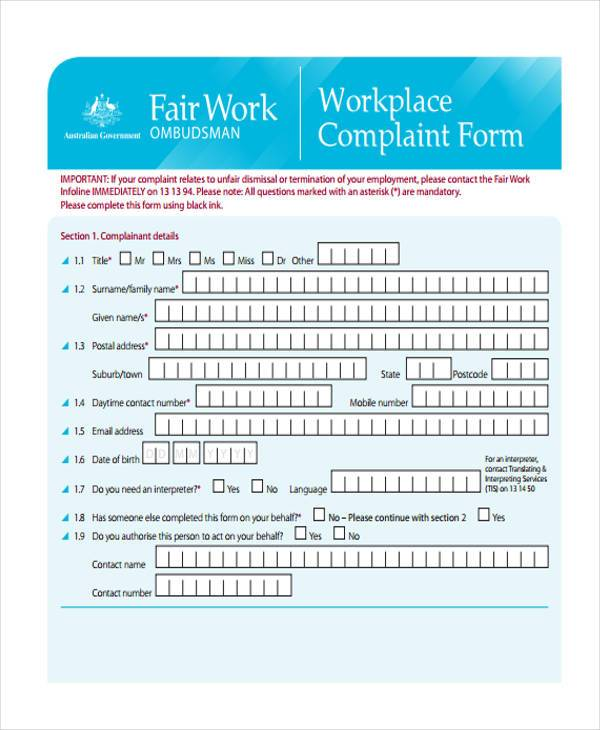 employment workplace complaint form