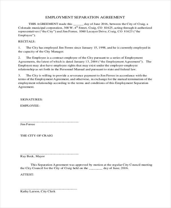 Employment Separation Agreement Form Example