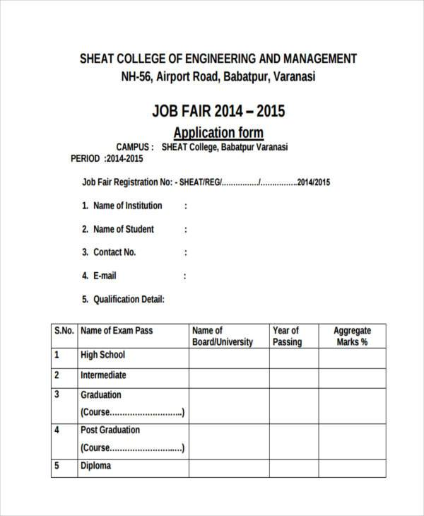 engineering job fair registration form