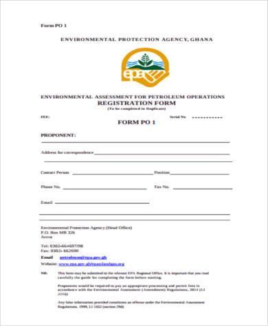 environmental assessment registration form