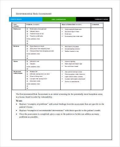 environmental risk assessment format