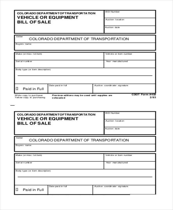 free 7  equipment bill of sale form samples in pdf