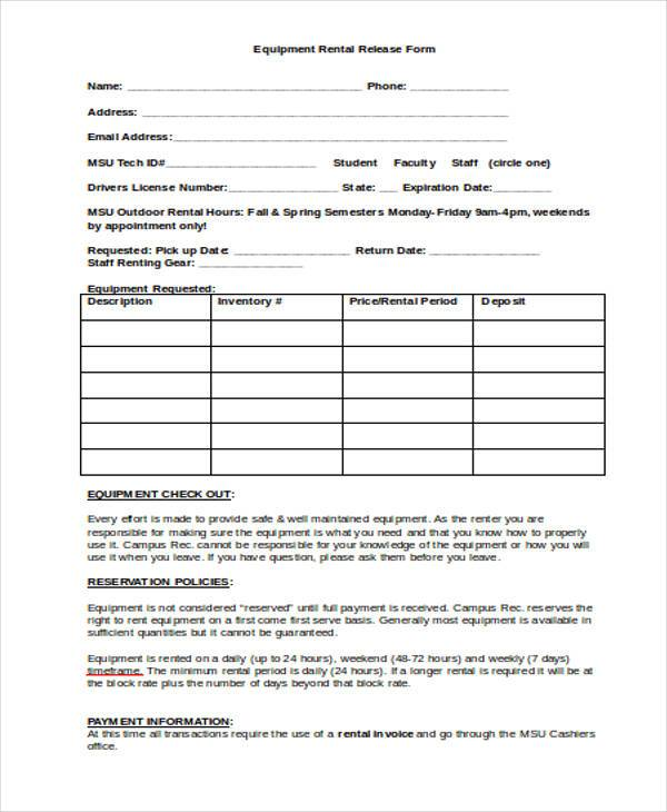 equipment rental release form