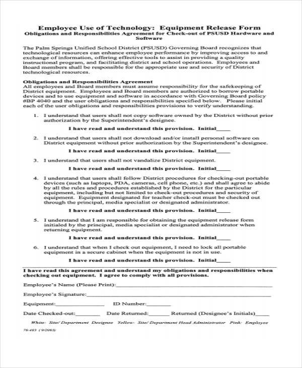 equipment use release form example