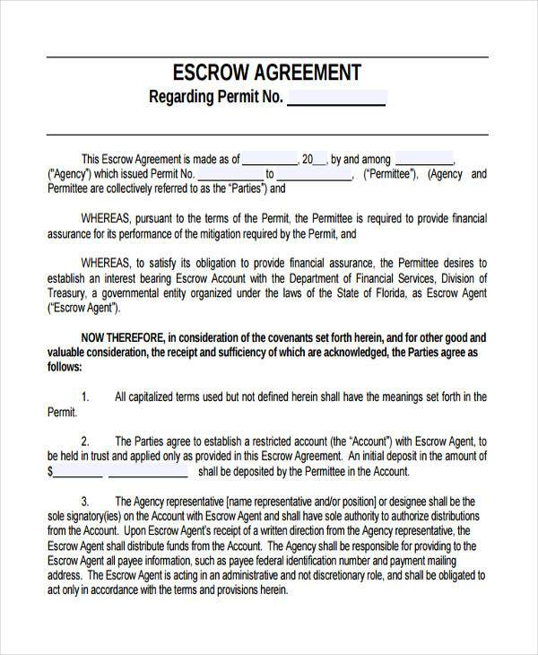 Sample Escrow Agreement Forms - 9+ Free Documents In Word, Pdf