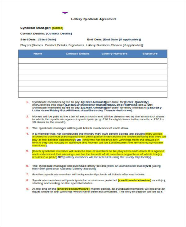 euro millions lottery syndicate agreement form