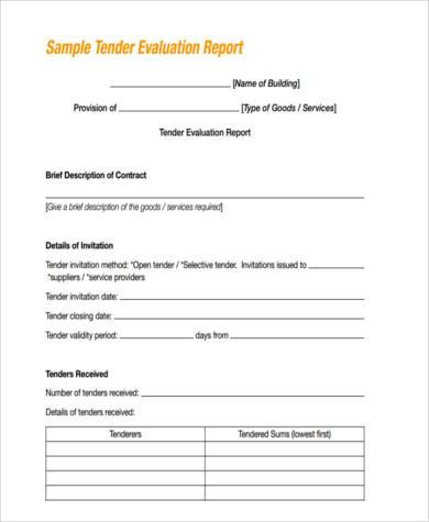 evaluation report form example
