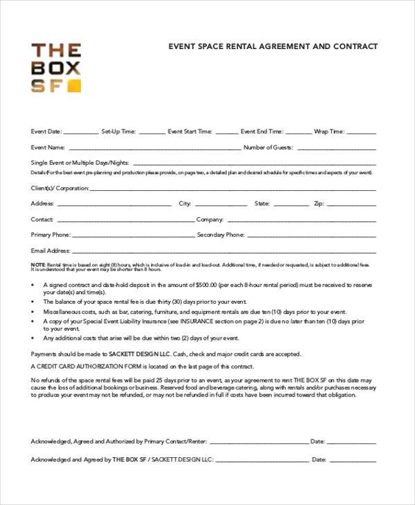 Event Contract Agreement Form