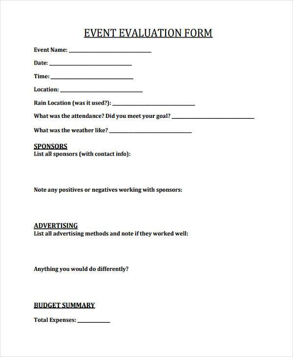 Event Feedback Form Samples   Free Sample Example Format Download