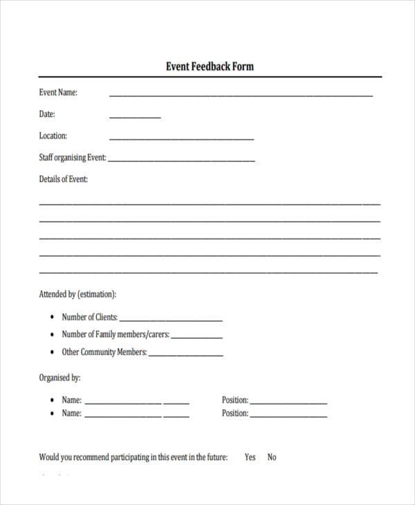 Event Feedback Form Samples 8 Free Sample Example Format Download – Format for Feedback Form