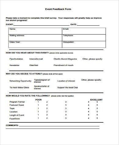 Event Survey Form Samples  Free Sample Example Format Download