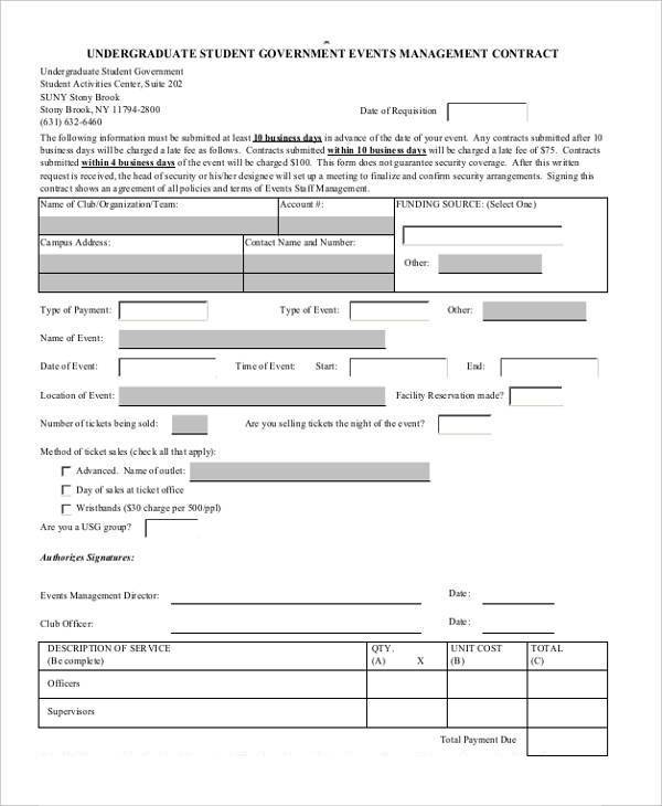 7 event contract form samples free sample example for Event management agreement template