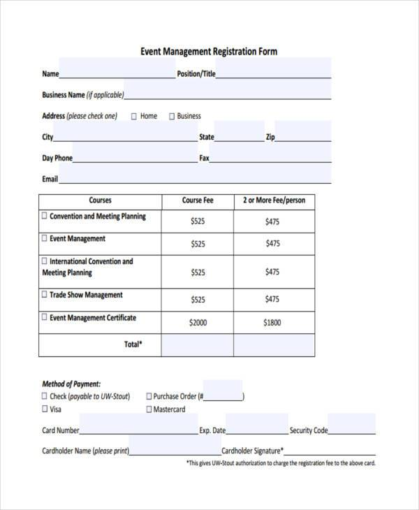 event management registration form