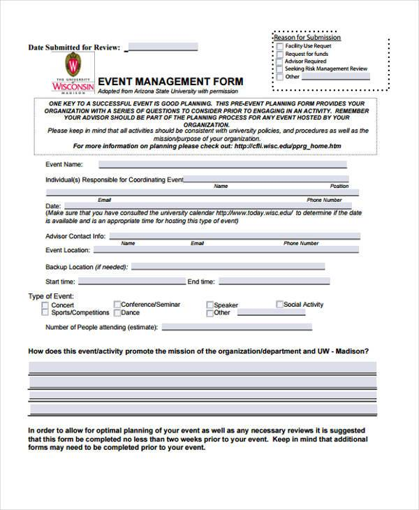 event management risk assessment form