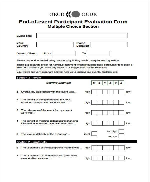 event participant evaluation form example