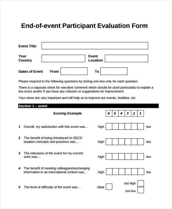 event participant feedback form example