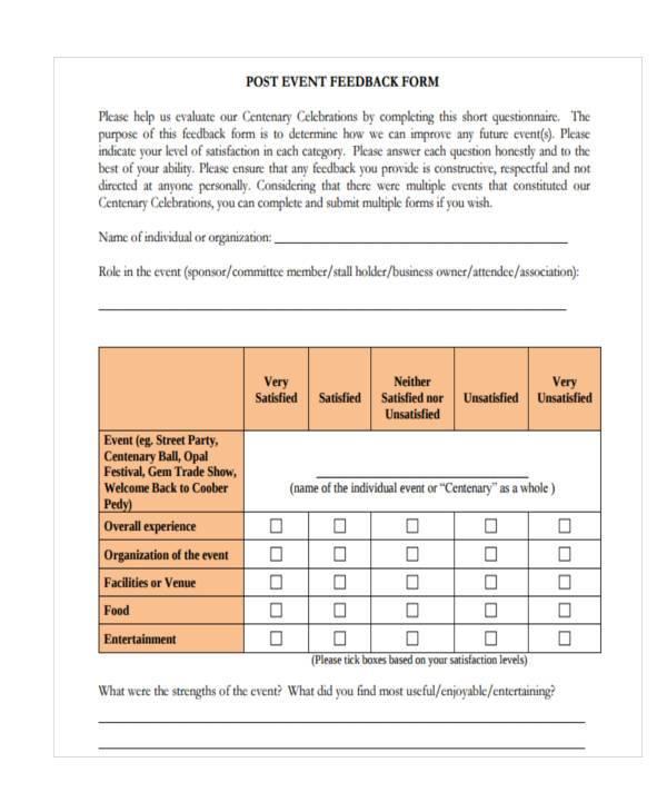 Event Feedback Form Samples 8 Free Sample Example Format Download – Event Feedback Form